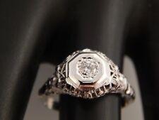 Vintage Art Deco Diamond Ring 18K  WG Filigree .10 ct Round E/SI2 Engagement