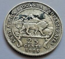 1906 East Africa And Uganda Protectorates 25 Cents Coin Edward VII / Lion Coin