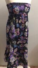Next Ladies Blue Floral Strapless Dress Size 12 100% Cotton Embellished Midi