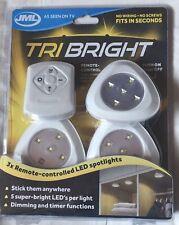 JML Tri Bright Remote Controlled LED Spotlights - 3 Pack & Controller -