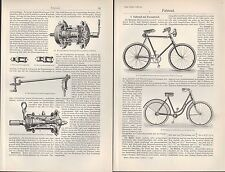 Lithografien 1907: Velociped. Fahrrad Velo Fahrräder Hochrad Dreirad Manuped