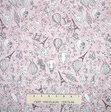 Paris Fancy Fabric - Eiffel Tower Mannikan Balloon Pink - Loralie Designs YARD