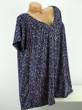 Shirt mit Kette Top Tunika Bluse Lagenlook Größe 46 - 54 one size blau geblümt