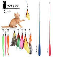 10Pcs Cat Play Feather Teaser Wand Toy Interactive Stick Kitten Pet Fun Bell Toy