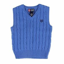 Chap's Boy's XLarge Blue V-Neck Knit Sweater Vest Cable Knit Shirt NEW $40