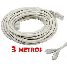 CABLE DE RED 3 METROS RJ45 CAT 5E UTP ETHERNET PC ROUTER INTERNET