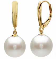 10mm White Round South Sea Shell Pearl 14k Gold Plated Leverback Earrings AAA