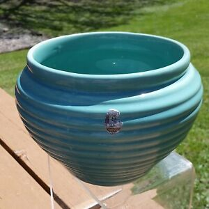 Hull 1940's Mardi Gras Ring Line Ribbed Planter Teal Blue