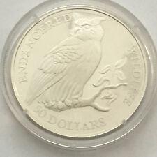 M28) Cook Islands 50 $ Silber 1991 in PP Wildlife Eule