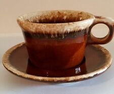 "Vintage Hull Pottery Ceramic 3"" Coffee Cup and Saucer Brown Drip Glaze"