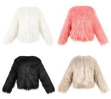Faux Fur Fluffy Furry Winter Girls Kids Childs Jacket Coat 2-8y Pink Black White 2-3 Years Silvery Cream Beige