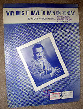 1947 WHY DOES IT HAVE TO RAIN ON SUNDAY Sheet Music PERRY COMO by Ott, Merrill