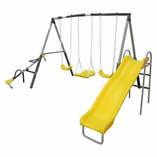 Swing Set Metal Swingset Kids Playground Play Playset Outdoor Wave Slide Seesaw