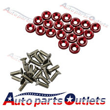 FENDER/BUMPER WASHER/BOLT ENGINE BAY DRESS UP KIT  RED 20 PC BILLET ALUMINUM