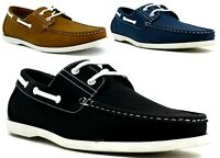 New Mens Lace Up Stitched Slip On Casual Loafer Boat Shoes UK Size 6-11