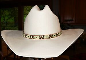 USA-Native American Styled Hand Beaded Hatband on leather.Western Cowboy/Girl