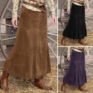 ZANZEA Womens Casual Loose Fit High Waist Skirts Ladies Corduroy Long Maxi Dress