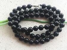 "New 8mm Round Black Onyx Gemstone Bead Necklace 21 ""Beautiful necklace....."