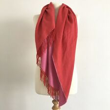 BURBERRY Pink Two Tone Cashmere Fringe Trimmed Triangle Scarf, Shawl