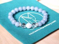 Angelite/Crystal/Moonstone Natural Gemstone Bracelet 6-9'' Elasticated Healing