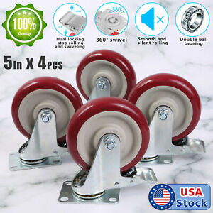 4 Pack 5 Inches Caster Wheels Locking Casters with Brake Swivel Plate Castors