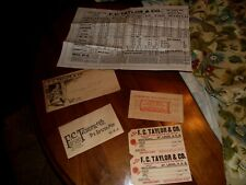Vintage 1912 Fc Taylor fur buyer Trapping mailer tags etc