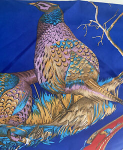 """Vintage Scarf by Lisa Canali  Pheasants & Floral Motif Multicoloured 30""""x30"""""""