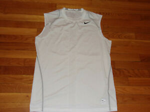 NIKE PRO DRI-FIT WHITE SLEEVELESS FITTED JERSEY MENS LARGE EXCELLENT CONDITION