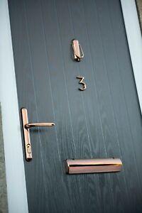 Rose Gold Door Furniture (Handle, Numbers, Letterbox, Knocker)