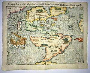 AMERICA 1568 SEBASTIAN MUNSTER VERY UNUSUAL ANTIQUE MAP 16TH CENTURY