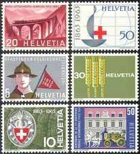 Suiza 1963 Puente/Ferrocarril/Tren/Scout/Cruz Roja/Caballos/hambre/FAO 6 V (n27407)