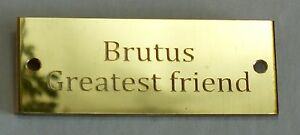 Diamond Cut Engraved Solid Brass Name Plate Plaque 300 x 60 x1.5mm