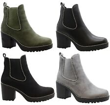 LADIES WOMENS CHUNKY BLOCK HEEL STUDDED CHELSEA PLATFORM ANKLE BOOTS SIZE 3-8