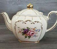 Vintage Sadler England Cube Teapot #2097 Flowers Gold Trim