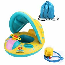 Inflatable Baby Pool Float Swimming Ring Children Toddler Aid Seat Boat with Sun