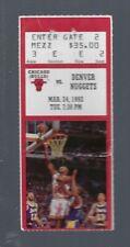 VINTAGE 1992 NBA CHICAGO BULLS TICKET STUB MICHAEL JORDAN 50 POINTS RED - MAR24