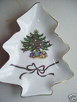 "Vintage Japan Russ fine porcelain 8"" Candy Dish Christmas Tree Gold Trim"
