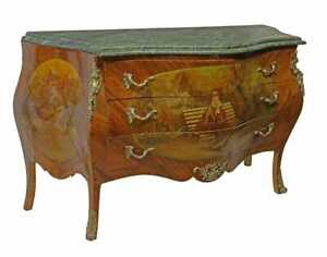 Commode, Bombe, Louis XV Style Marble-Top, Painted Scene, Brass Ormolu, 1900's!