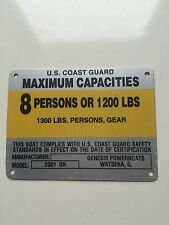 United Marine Corp Boat Capacity Plate~Tag 8 Person or 1200 Lbs~Genesis 2001 BR