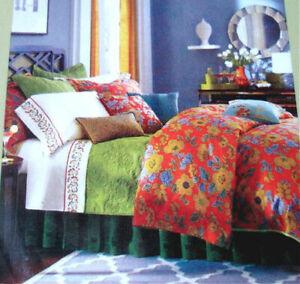 Sferra Mai Tai Queen Duvet Cover & 2 Shams 400 TC Floral Rouge Cotton Sateen