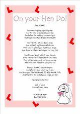 Personalised Poem Keepsake Hen Night / Hen Do / Bride to Be Bridal Shower Gifts