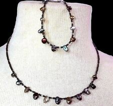 Handcrafted Authentic Drop Pearl Beaded Necklace Set Bracelet Artisan Jewelry