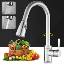 Brushed Nickel Kitchen Faucet Swivel Single Hole Sink Pull Down Spray Mixer Tap