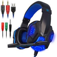 3.5mm Auriculares Estéreo Auriculares para Juegos con Cable LED brillante Auriculares con micrófono para PC