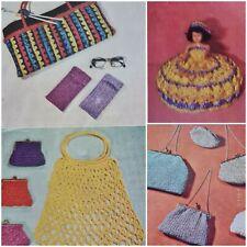 1960s Raffia Evening Bag Purse Toilet Roll Doll Myart 5 Knitting Crochet Pattern