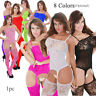 Womens Fishnet Babydoll Crotchless Bodysuit Lingerie Underwear Bodystocking A+