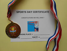 SPORTS DAY MEDALS - METAL - 50MM - GOLD -SILVER OR BRONZE WITH CERTIFICATE