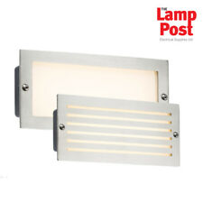 5x Knightsbridge LED Bricklight Outdoor Brick Wall Light White Brushed Steel