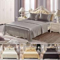 4 Pcs Set Silk Sheets Bedspreads Bed Linen Pillowcase Sheet Blanket Queen King