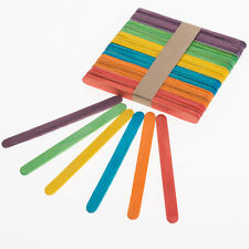 Lolly Lollipop Sticks Colour Mixed Wooden Wood Arts Crafts FREE POST